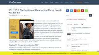 PHP Web Application Authentication Using Google OAuth 2.0 ...