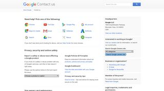 Contact us – Google