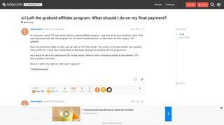 I Left the graboid affiliate program. What should i do on my final ...
