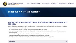 Schedule a Visit/Enrollment   Grant Beacon Middle School