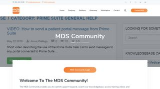 MDS Medical Customer Support Portal - Greenway Prime Suite