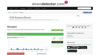 Groupon down? Current outages and problems | Downdetector