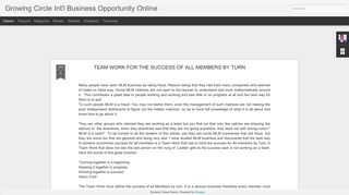 Growing Circle Int'l Business Opportunity Online
