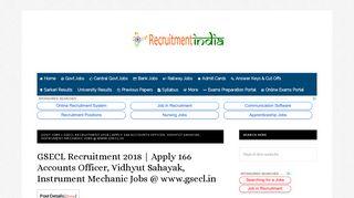 GSECL Recruitment 2018  166 Vidhyut Sahayak, Accounts Officer