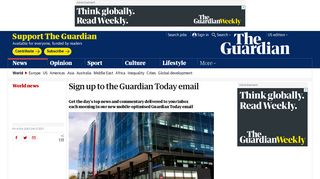 Sign up to the Guardian Today email   World news   The Guardian