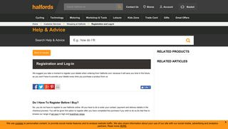 Halfords Advice Centre   Registration and Log-in