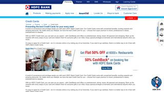 Credit Cards - Apply for Credit Card Online with ... - HDFC Bank