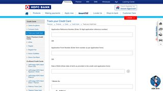 HDFC Bank | Credit Cards- Application Status