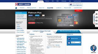 Platinum Plus Credit Card - Enjoy 0% Fuel Surcharge ... - HDFC Bank