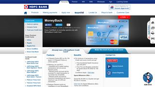 MoneyBack Credit Card - Enjoy CashBack with HDFC Bank