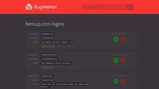 heroup.com logins - BugMeNot