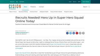 Recruits Needed! Hero Up in Super Hero Squad Online Today!