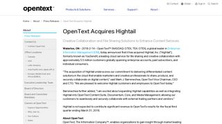 OpenText Acquires Hightail