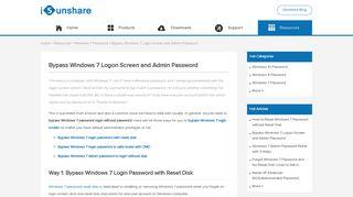 Bypass Windows 7 Logon Screen and Admin Password - iSunshare