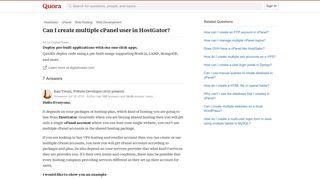 Can I create multiple cPanel user in HostGator? - Quora