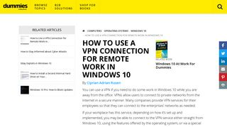 How to Use a VPN Connection for Remote Work in Windows 10 ...