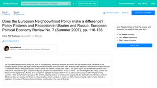 (PDF) Does the European Neighbourhood Policy make a difference ...