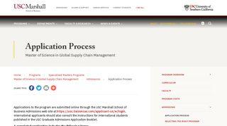 Application Process   USC Marshall