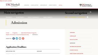 Admission   USC Marshall