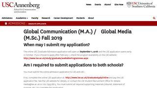 Global Communication (M.A.) / Global Media (M.Sc.) Fall 2019   USC ...