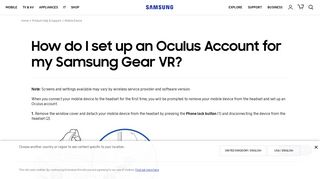 How do I set up an Oculus Account for my Samsung Gear VR ...