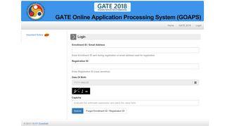 GATE - 2018 :: Candidate Login