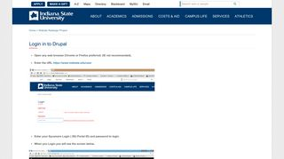 Login in to Drupal   Indiana State University