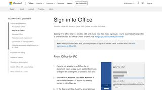 Sign in to Office - Office Support
