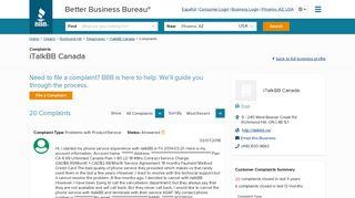 iTalkBB Canada   Complaints   Better Business Bureau® Profile