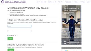 Login - International Women's Day