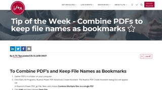 Tip of the Week - Combine PDFs to keep file names as bookmarks