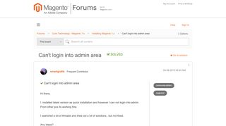 Solved: Can't login into admin area - Magento Forums