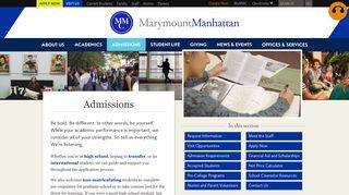 Admissions: Marymount Manhattan College