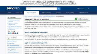 Maryland Salvaged Vehicle Regulations | DMV.ORG