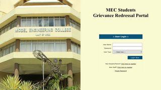 MEC Students Grievance Redressal Portal- Login