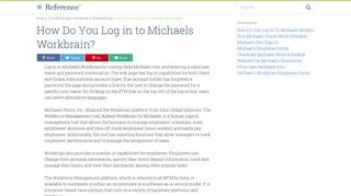 How Do You Log in to Michaels Workbrain?   Reference.com