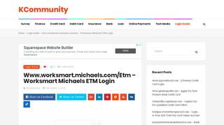 Worksmart Michaels ETM Login - KCommunity
