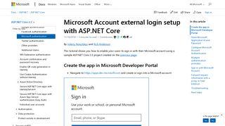 Microsoft Account external login setup with ASP.NET Core | Microsoft ...