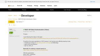 Solved: REST API Silent Authentication (Token) - Microsoft Power ...