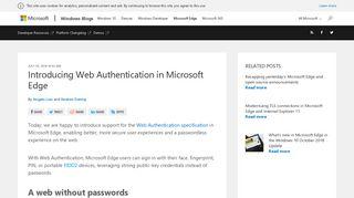 Introducing Web Authentication in Microsoft Edge - Microsoft Edge Blog