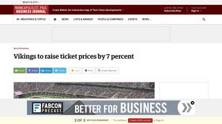 Minnesota Vikings will raise season ticket prices by 7 percent at U.S. ...