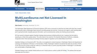 MultiLoanSource.net Not Licensed In Washington