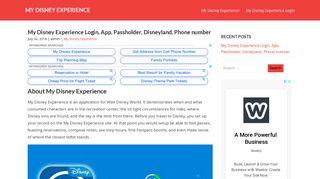 MY DISNEY EXPERIENCE - My Disney Experience Login, App ...