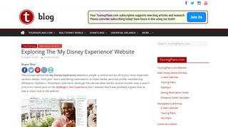 Exploring The 'My Disney Experience' Website - TouringPlans.com Blog
