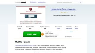 Teammember.daveandbusters.com website. MyTMx - Sign In.