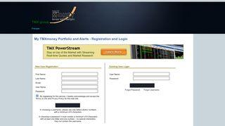 My TMXmoney Portfolio and Alerts - Registration and Login