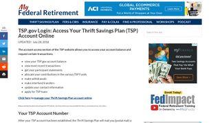 TSP.gov Login: Access Your Thrift Savings Plan (TSP) Account Online