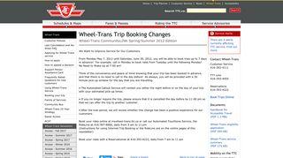 TTC Wheel-Trans Trip Booking Changes