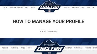How To Manage Your Profile   Nastar