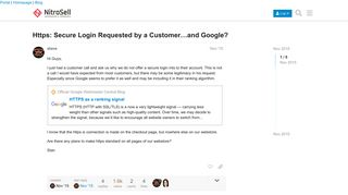 Https: Secure Login Requested by a Customer...and Google ...